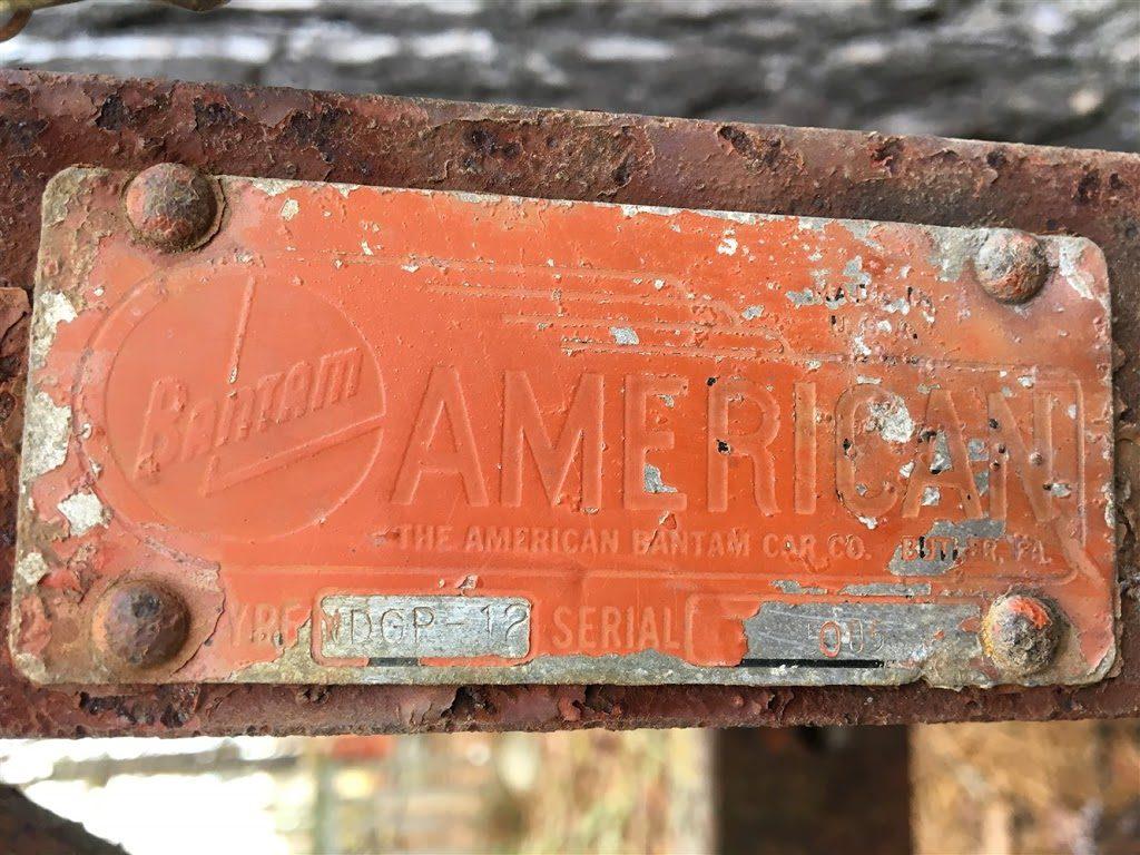 Painted American Bantam plow tag