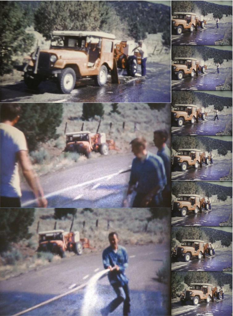 Group of pictures showing Jeeps and balers being washed