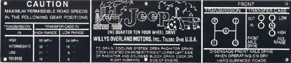 Jeep dash plate