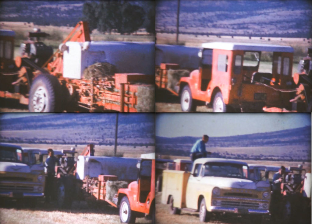 Group of 4 pictures showing Jeeps with haybalers