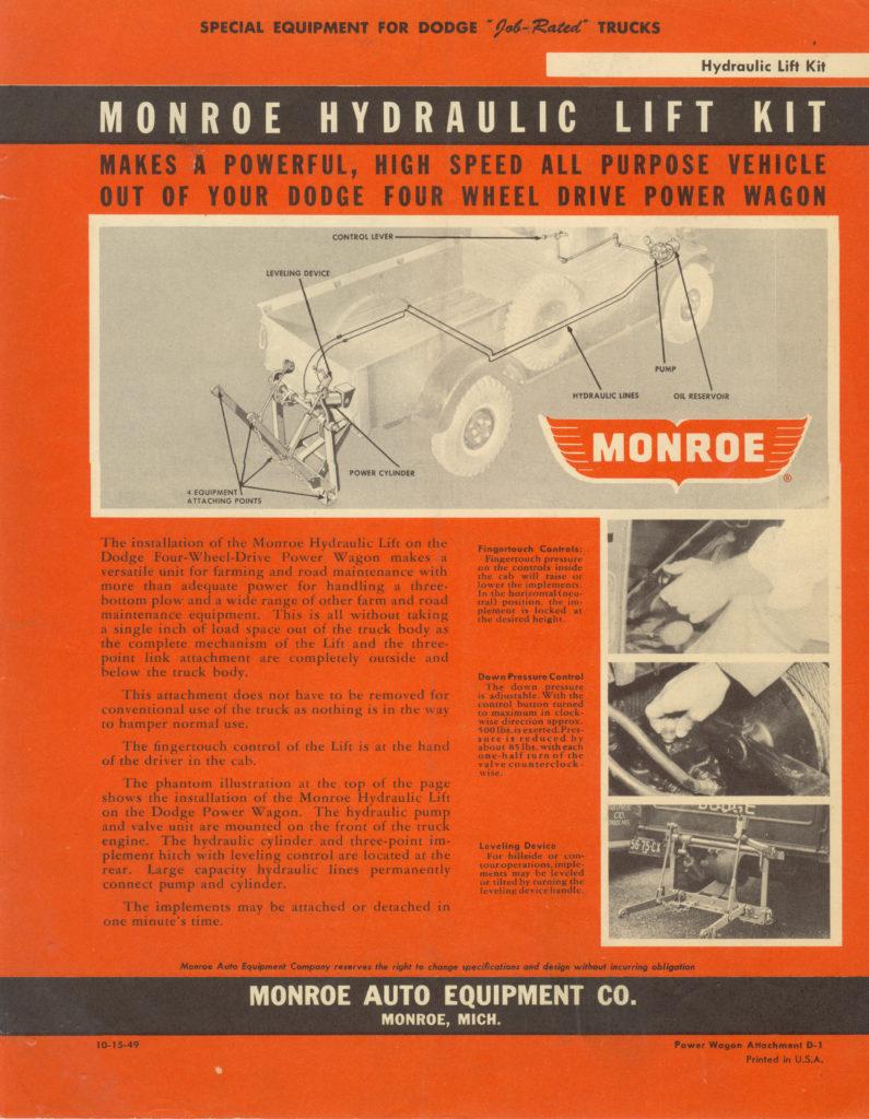 Monroe Power Wagon lift