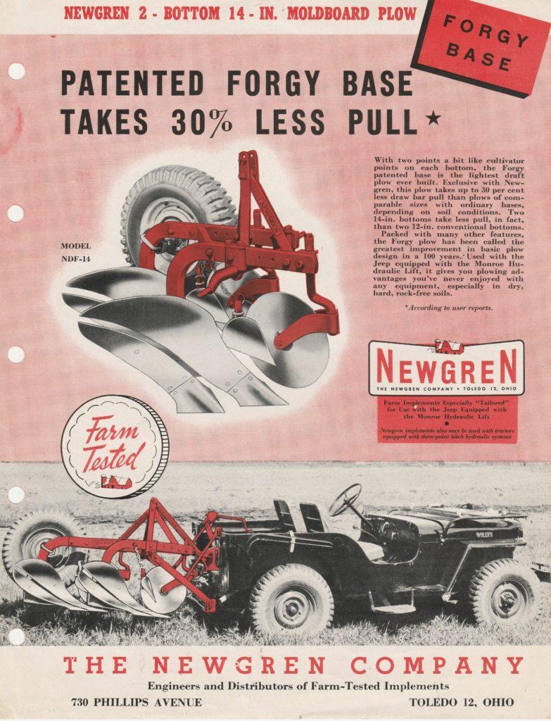 Newgren plow brochure